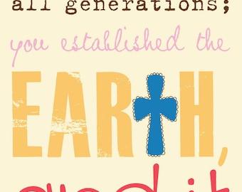Scripture Art, Bible Verse Art, Faith Based Art, Psalm 119:90, Faith Art by Jennifer McCully