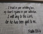 Table Runner  Burlap with bible verse, Psalm 136:4