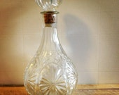 Beautiful Glass Whiskey Decanter w/ cork stopper