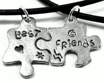 "Set of Two Best Friends Necklaces-20"" Black Leather Necklaces"