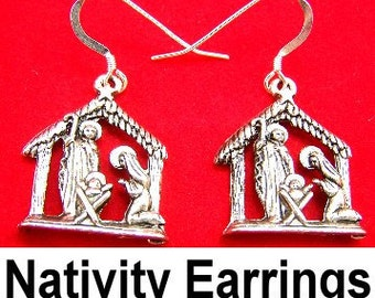 Pewter Nativity Charms on Sterling Silver Ear Wire Dangle Earrings -  FREE SHIPPING in the US -5140