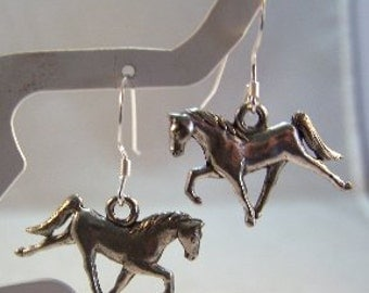 Pewter Walking Horse Charms on Sterling Silver Ear Wires - Free Shipping in the US - (0118)
