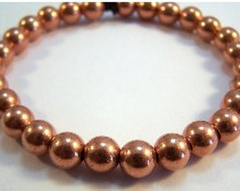 "Copper Beaded 8"" Bracelet - Free Shipping in the US - (1104)"