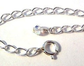 Silver 3.5 Inch Jewelry Extender Chain with Swarovski AB Crystal Accent - Free Shipping in the US