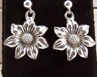 Pewter Sunflower Charms on Sterling Silver Ball Post Stud Earrings - Free Shipping in the US - (0902)