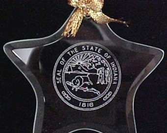 Indiana State Seal - Beveled Glass Star Ornament