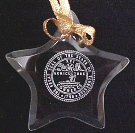Tennessee State Seal - Beveled Glass Star Ornament