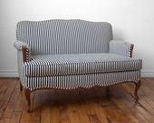 Vintage Upholstered 'French Salon' Black and White Stripe Settee // Loveseat // Spring