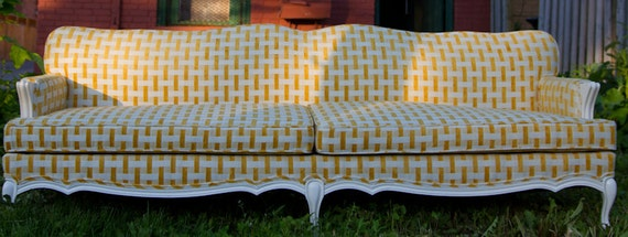 Items Similar To Vintage Upholstered Geo French Provincial Sofa Yellow  Chenille On Etsy