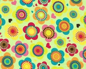 Dress Fabric -  Multi Colored Flowers and Hearts Pattern 100% Cotton Fabric