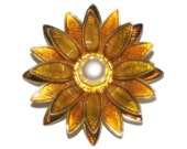 Vintage RARE 40's Sunflower Brooch Made in W Germany