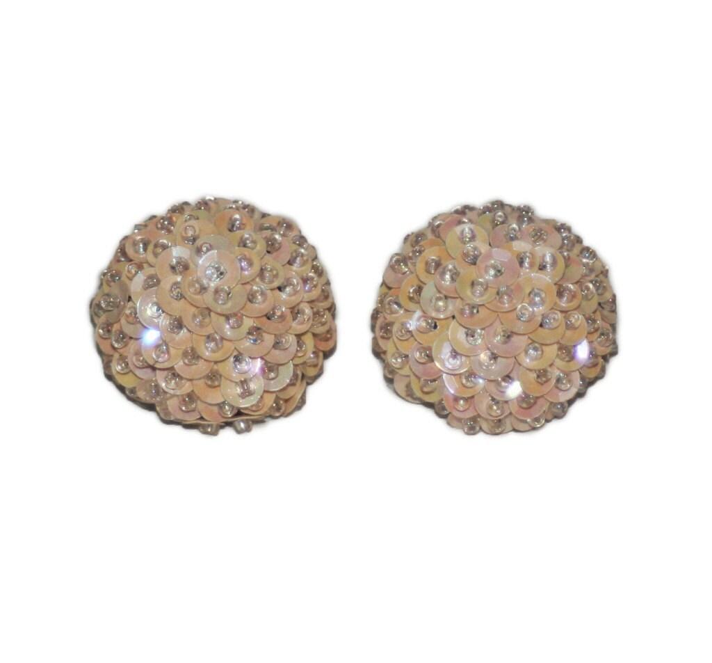 vintage peach sequin earrings