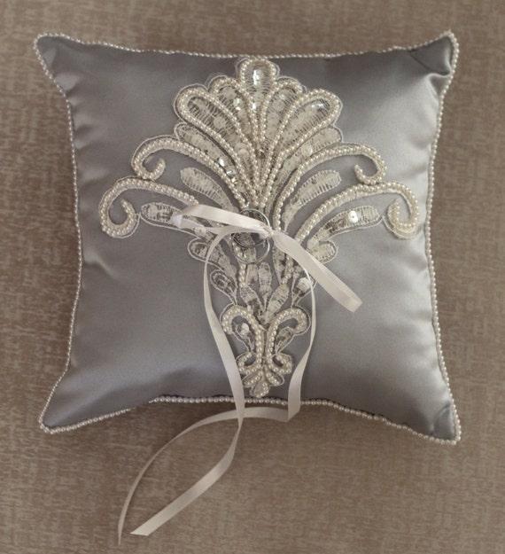 Ring Bearer Pillow Weddings Silver Ring Pillow Beaded