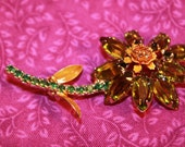Vintage Unfoiled Peridot and Gold Flower Brooch