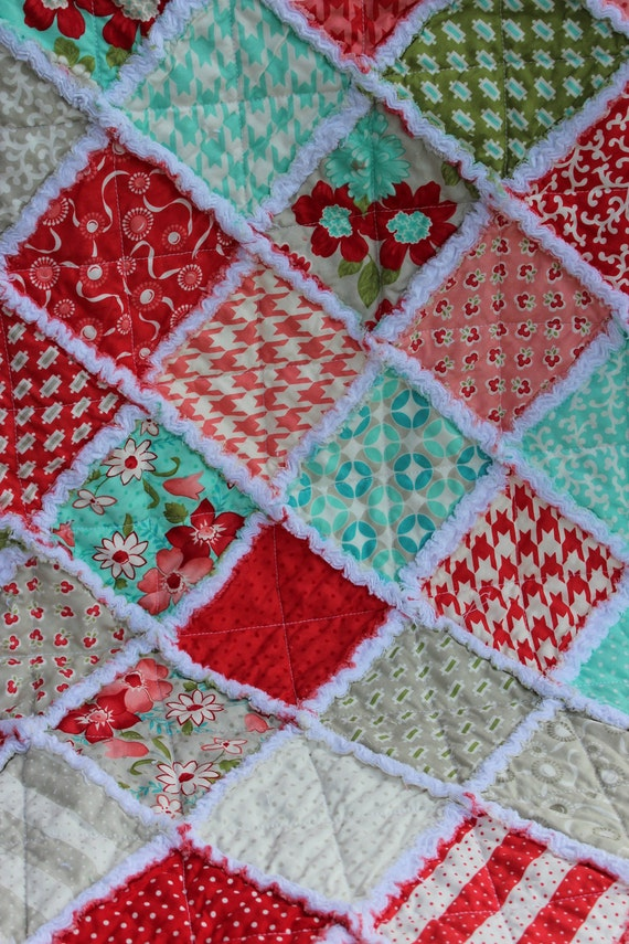 Vintage Modern Baby Girl Rag Quilt in pink, red, grey and teal prints