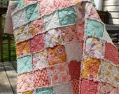 Crib Rag Quilt, for baby or toddler, Summerlove fabric Pat Bravo, pink teal gold purple, photo prop
