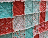 Crib Rag Quilt, for baby or toddler, Aqua and Red by Michael Miller, girl nursery, red, aqua, pink, turquoise, photo prop