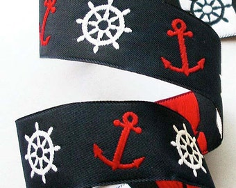 NAUTICAL ANCHORS and WHEELS Jacquard Ribbon - 7/8""