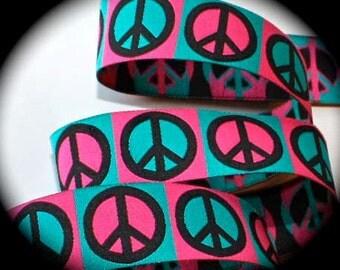 "PINK PEACE SIGNS Jacquard Ribbon - 1"""