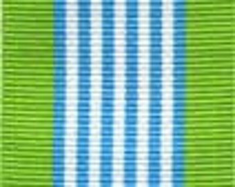 Grosgrain Ribbon - Green, Blue and White - 1.5""