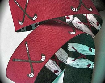 FIELD HOCKEY on Maroon Jacquard Ribbon - 1""