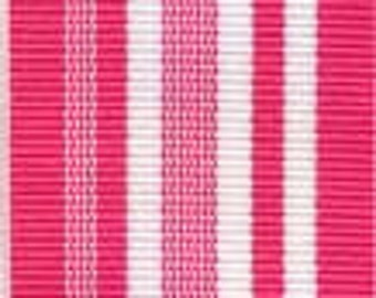 Grosgrain Ribbon - Hot PInk and White Stripes - 1.5""