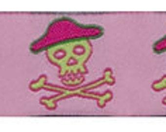 "Pink PIRATES Jacquard Ribbon - 7/8"""