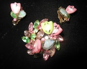 Darling pink and green brooch and matching clip earrings. CHECK OUT BACKS.