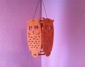 Owl scroll saw wood decoration