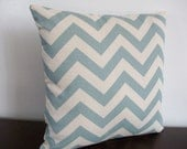 Decorative Pillow cover 14''x14'', blue and natural chevron