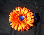 Navy Blue Headband with Orange Flower