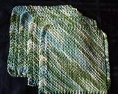 Set of 4 Green, Blue, and White Dish Cloths