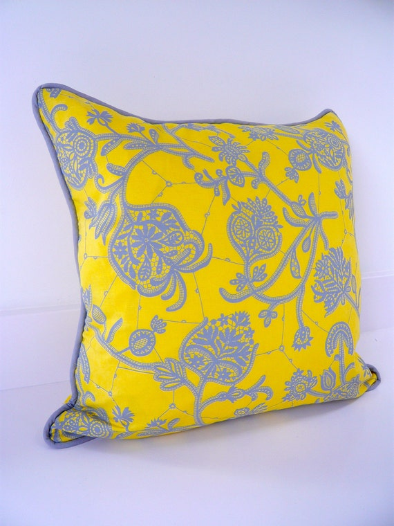 Handmade yellow & grey patterned cushion pillow