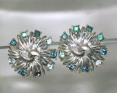Vintage Coro Silver Blue Faceted Rhinestone Earrings Clip On Signed 1950 s