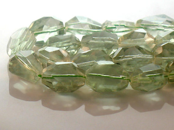 Green Amethyst Beads Faceted Nugget Focal AA Quality 18mm Gemstone For Handmade Jewelry Design
