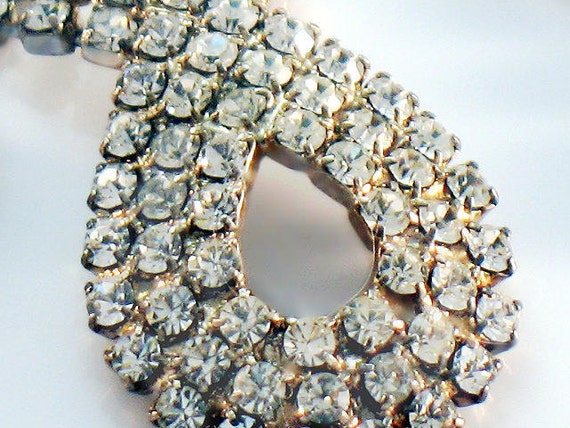Sparkling Vintage Weiss Style Crystal Rhinestone Necklace and Earring Set Silver Faceted 1950s Demi Parure