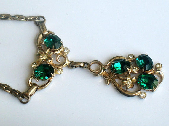 Rare Vintage Barclay Emerald Green Rhinestone Necklace 1940s Edwardian Signed Gold