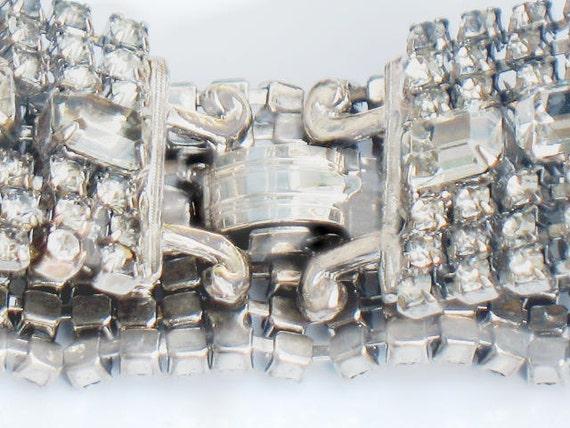 Vintage Crystal Rhinestone Bracelet and Chandelier Earring Set 1950s Classic Beauty Silver Bridal Wedding Demi Parure