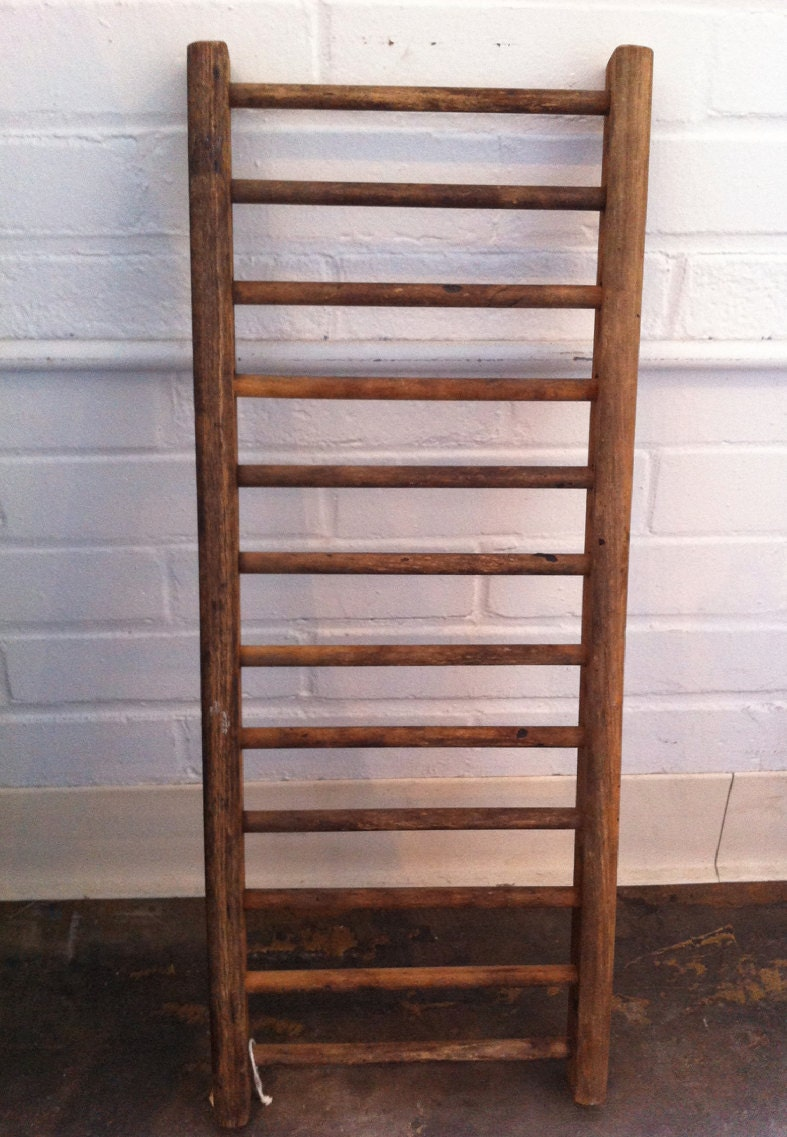Rustic primitive antique wooden decorative ladder for Decor ladder
