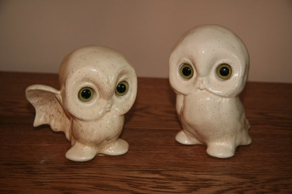 whimsical ceramic owl pair