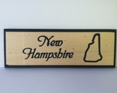 Custom Engraved State Name with State Outline Wooden Sign 5 1/2 x 15""
