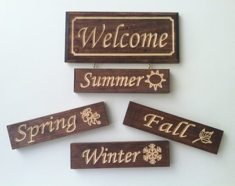 Welcome Sign with Hang-On Seasonal Plaques