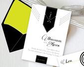 Archer Digital Invite only (Paperless Invite, Black and White arrows stripes)