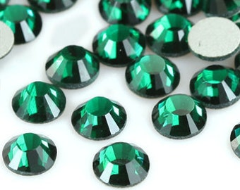 Dark Green Rhinestone (Emerald) Flat Back Crystal 144pcs size available 2mm 3mm 4mm 5mm 6mm
