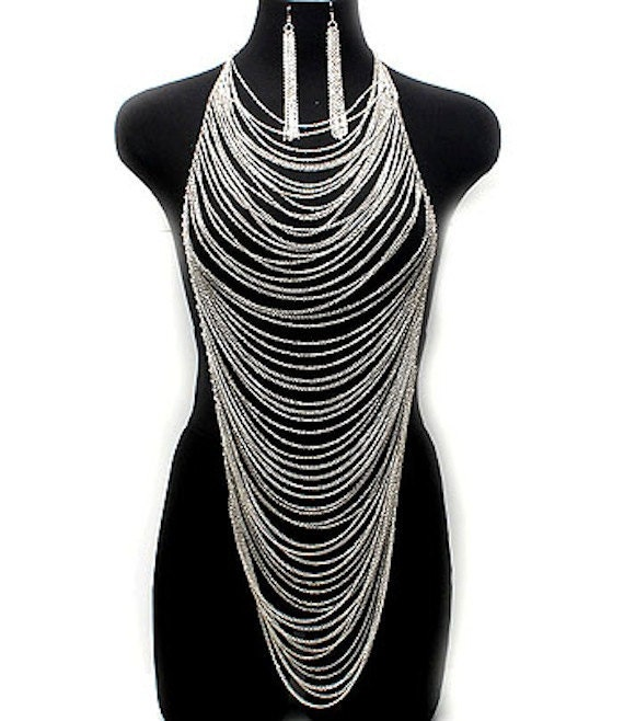 Silver Body Chain w/ Matching Dangling Earrings