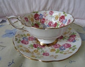 Royal Stafford Bone China Teacup and Saucer floral design made in England