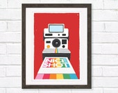 Retro polaroid camera art print Nice shot