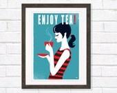Retro Tea Poster, Enjoy Tea Mid Century Homeware