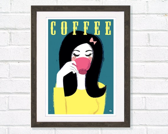 Retro Kitchen Coffee Art Print Girl sipping pink cup A3 / 11 x 14