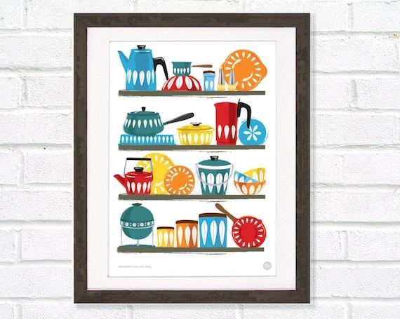 Kitchen Art Cathrineholm homewares shelf, Mid Century illustration A3 / 11x14